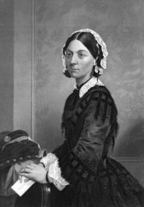 Florence Nightingale (1820-1910) on engraving from 1873. Celebrated English social reformer, statistician and founder of modern nursing. Engraved by unknown artist and published in ''Portrait Gallery of Eminent Men and Women with Biographies'',USA,1873.